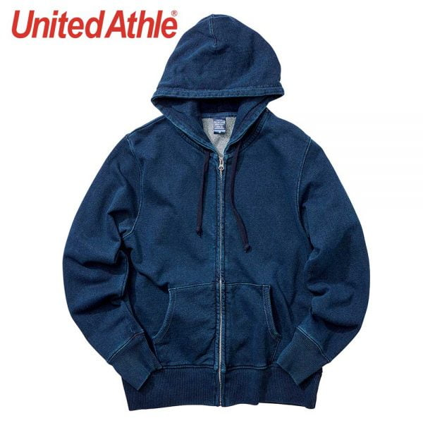United Athle 3905-01 Adult Indigo Hooded Full Zip Sweatshirt