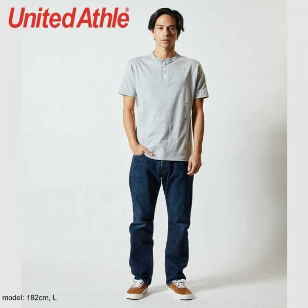 United Athle 5004-01 5.6oz Adult Cotton Henry Collar T-shirt