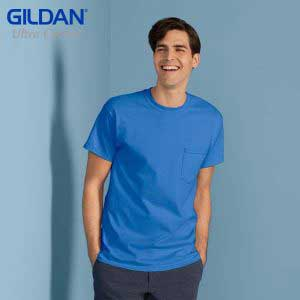 Gildan 2300 Ultra Cotton 成人有袋 T 恤 (美國尺碼)