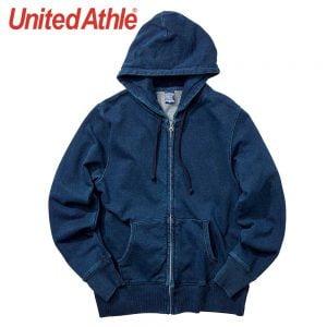 United Athle 3905-01 丹寧藍全棉連帽拉鏈衛衣