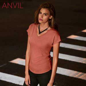 ANVIL 6750VL 4.7oz Ladies Tri-Blend V-Neck T-Shirt