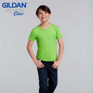 Gildan 76000B 5.3oz Premium Cotton Youth Ring Spun T-Shirt