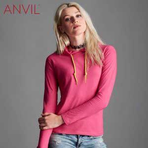 ANVIL 887L 4.5oz 女裝輕身有帽長袖 T 恤
