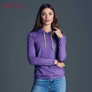 ANVIL 887L 4.5oz Ladies Lightweight Long Sleeve Hooded T-Shirt