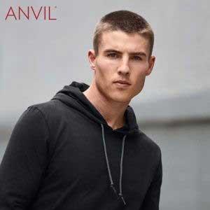 ANVIL 987 Adult Lightweight Long Sleeve Hooded Tee (US Size)