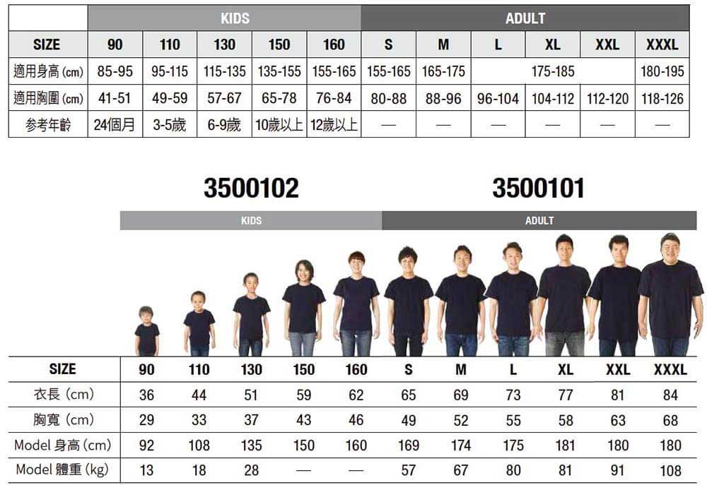 United Athle 5001 Size Fit